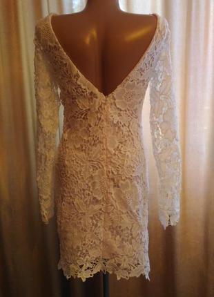Шикарное вечернее белое ажурное кружевное облегающее платье с ...