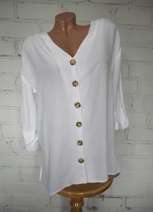 Рубашка/блуза белая свободная вискозная с роговыми пуговицами/s-m