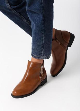 Новые женские осенние коричневые ботинки