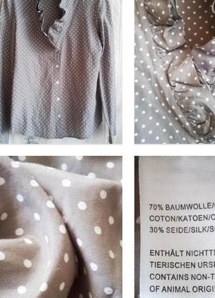 Нежная блуза в горошек в викторианском стиле из шелка и хлопка!