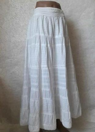 Фирменная белоснежная юбка в пол со 100 %хлопка, кружевными вс...