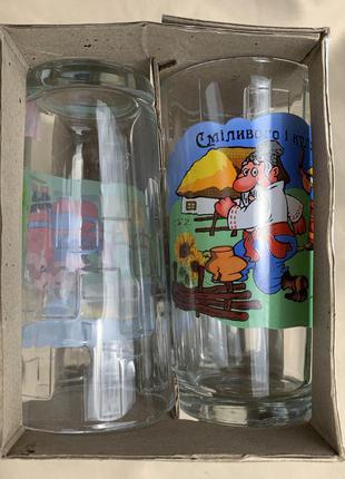 Стаканы, стеклянные стаканы, набор стаканов.