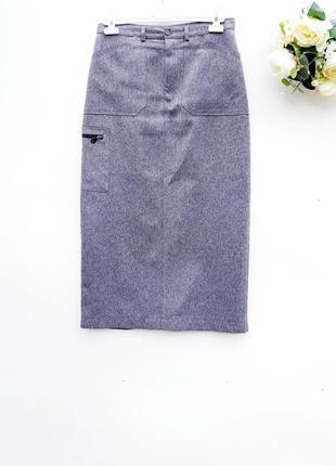 Юбка миди с накладными карманами стильная юбка с плотной ткани...