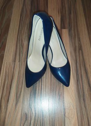 Туфли, лаковые туфли, синие туфли, туфли лодочка
