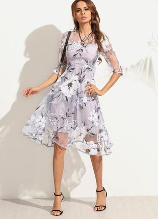 Платье миди из органзы размер м