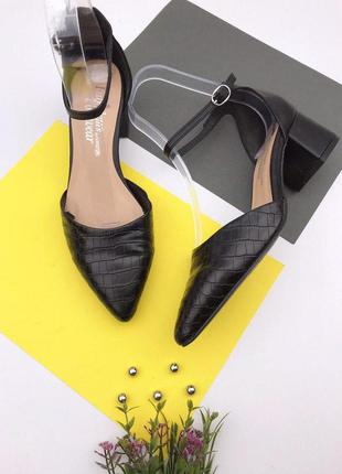 Женские туфли лодочки на толстом каблуке