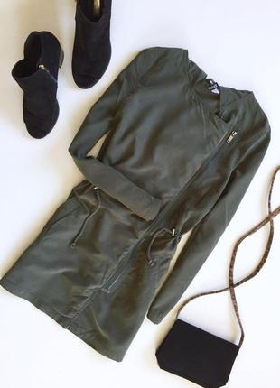 Стильная удлиненная куртка парка на запах с капюшоном от h&m