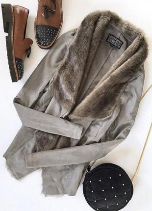 Женская куртка кардиган с мехом