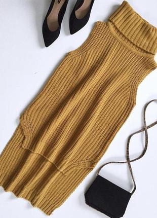 Теплая вязаная кофта жилетка удлиненная сзади с горловиной