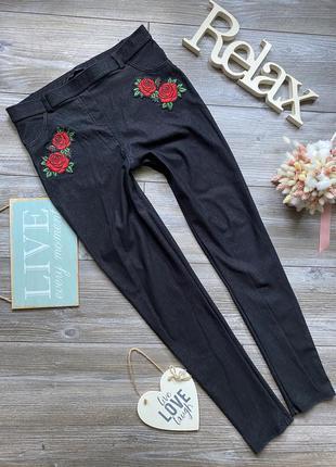 Джеггинсы с розами джинсы select m-l