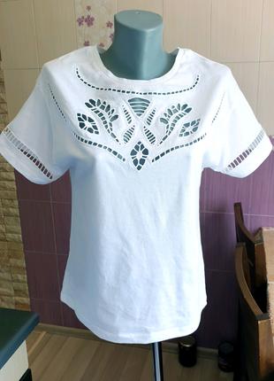 Белая футболка хлопок mango стильная топ