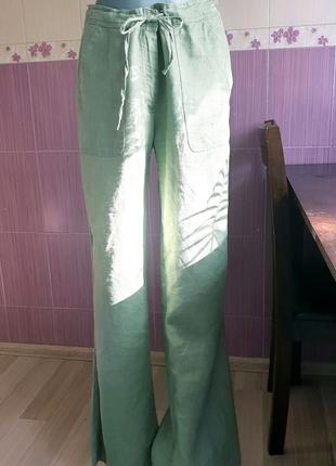 Льняные брюки штаны летние широкие цвета хаки фирменные