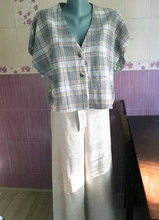 Клетчатый топ блуза под винтаж свободного кроя primark сток