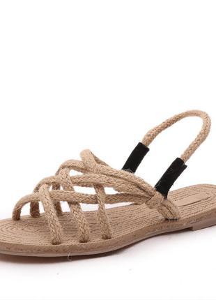 Стильные плетёные сандали веревки под солому