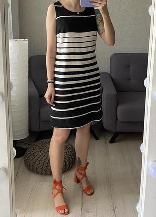 Льняное платье миди в полоску f&f