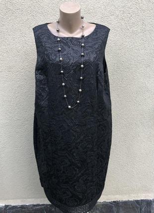 Платье,сарафан из фактурной,плотной ткани,кружево,офисное,боль...