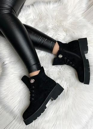 Шикарные черные демисезонные ботинки