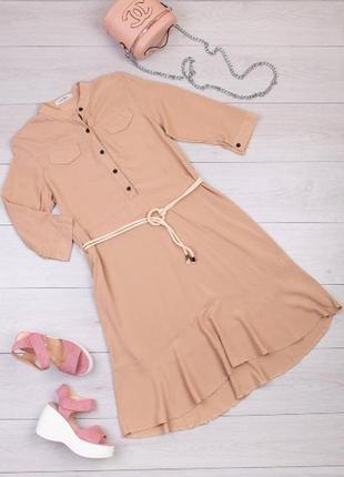 Женское платье с поясом 6расцветок