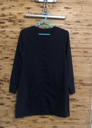 Удлинённая рубашка платье-рубашка cos темно-синего цвета