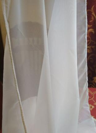 Тюль НОВЫЙ с утяжелителем, белоснежный шифон, остаток 1 метр, ...
