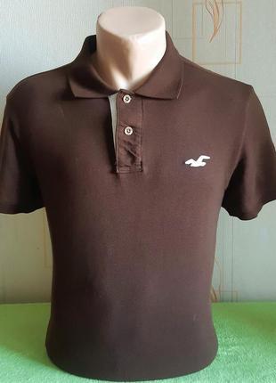 Стильная коричневая футболка поло hollister made in vietnam