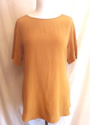 Шелковый топ, блуза горчичного цвета h&m, р. 36