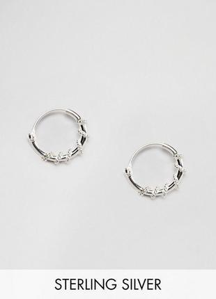 🍒 миниатюрные серьги-колечки с оплеткой стерлинговое серебро k...