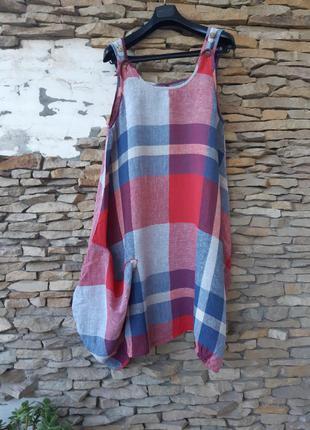 Стильное льняное с одним карманом платье большого размера