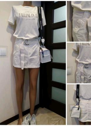 Крутая брэндовая юбка мини с ремнем