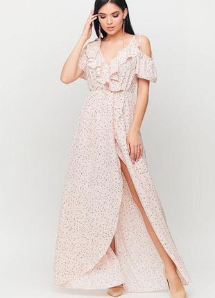 Платье макси из легкой летней ткани с имитацией запаха