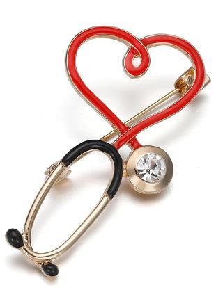 Брошь медицинская «Стетоскоп с сердцем»