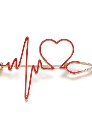 Брошь медицинская «Электрокардиограмма в форме сердца»