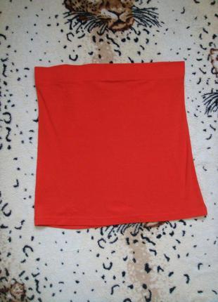 Яркая оранжевая трикотажная юбка мини в обтяжку большой размер...