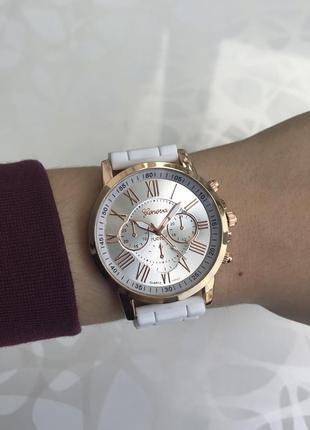 Силиконовые женские наручные белые часы geneva женева летние