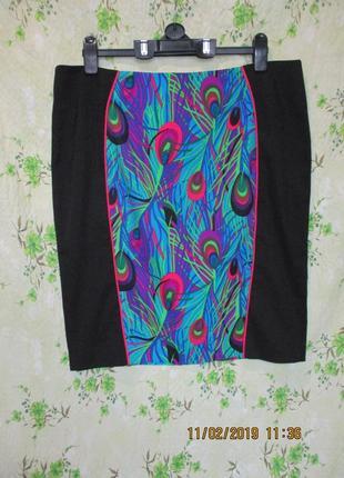 Шикарная юбка миди/ юбка карандаш с принтом перо павлина/батал...