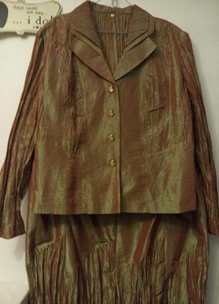 Летний легкий костюм с юбкой из тафты батал