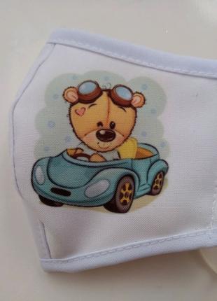 Маска детская многоразовая мишка