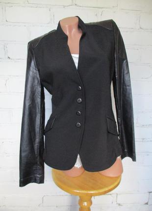 Пиджак/жакет черный комбинированный с кожзамом/s-m