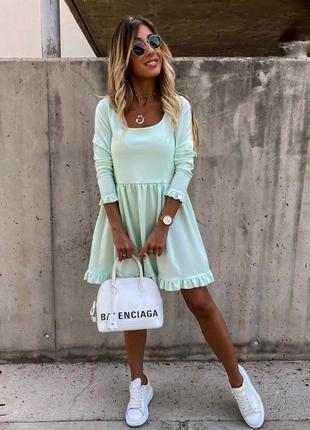 Мятное летнее платье женское