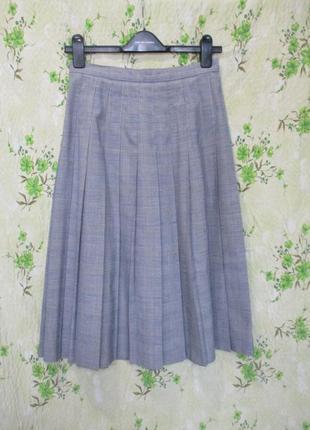Стильная юбка в складку/клетка/гусиная лапка