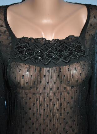 Прозрачная блузка с бисером