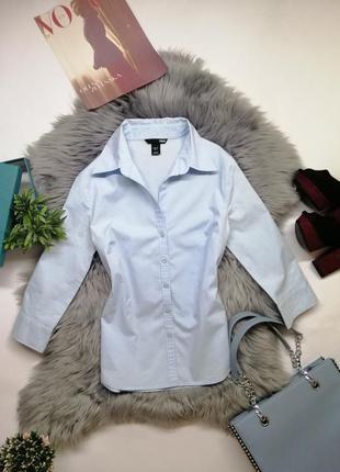 Летняя хлопковая голубая рубашка h&m базовая красивая блуза s xs