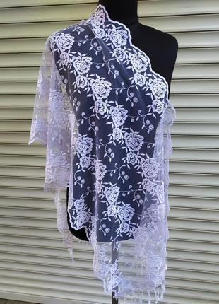 Свадебный шарф праздничный нарядный ажурный шарф