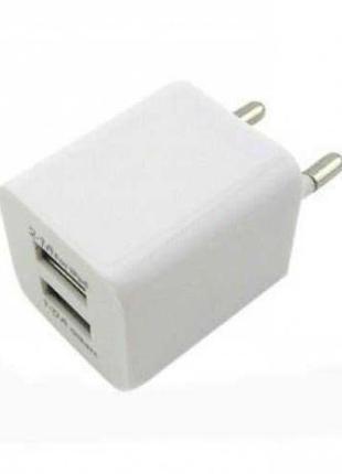 Зарядное устройство на 2 USB White 2.1A и 1A для телефонов планше