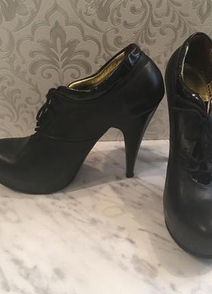 Черные туфли -ботинки натуральная кожа