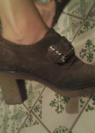 Туфли замша на манке цвета капучино р.38