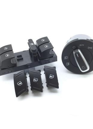Комплект кнопок Skoda Octavia A5/A5FL (Стекл/Свет Авто Хром)
