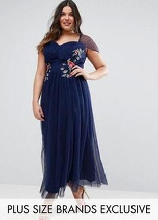 Платье макси с цветочной вышивкой little mistress plus