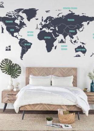 Наклейка на стену Карта мира с достопримечательностями