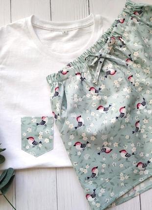 """Пижама с футболкой и шортами """"птички"""""""